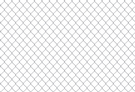 Chain Fence. Steel grid isolated on white