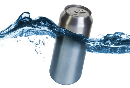 aluminum can: Blank can dropped into water with splash isolated on white Stock Photo