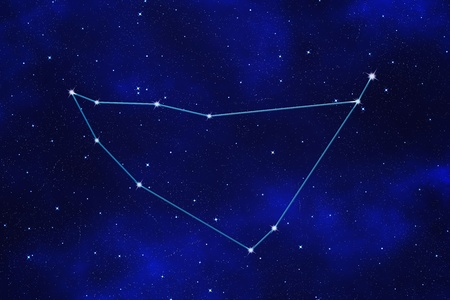 Starfield background of zodiacal symbol