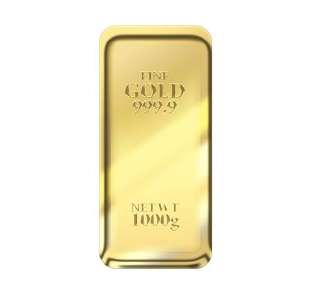 lingote de oro: barra de 1 kg de oro aislado en un fondo blanco  Foto de archivo