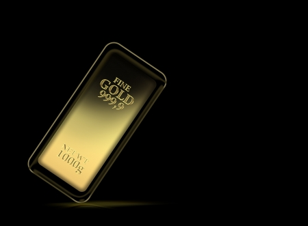 1kg gold bar isolated on a black background  photo