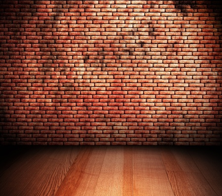 room with brick wall and wooden floor photo