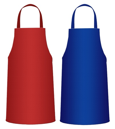 Blue and Red Kitchen Apron (industrial) isolated on white background photo