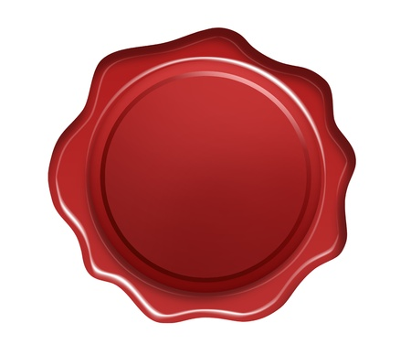 Red wax seal isolated on white background photo