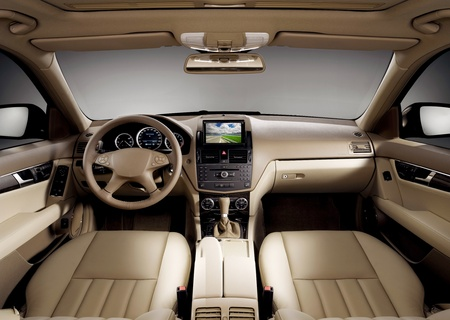 View of the interior of a modern business car showing the dashboard Stock Photo