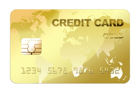 Gold credit card with world map  photo