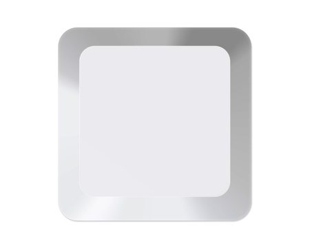 typer: White computer key with clear space isolated on white Stock Photo