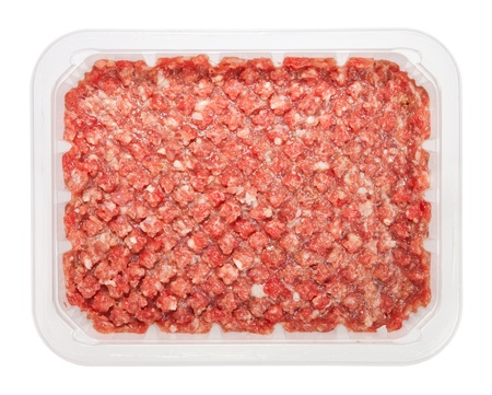 forcemeat: the forcemeat of raw meat in box isolated on white background