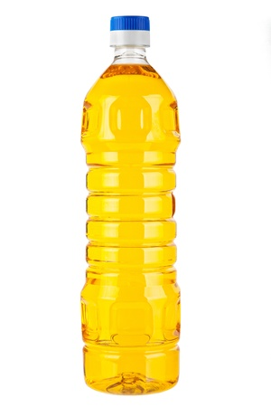 Bottle of Pure Olive or Corn or Nut or Sunflower (Vegetable) oil, isolated on white background  photo