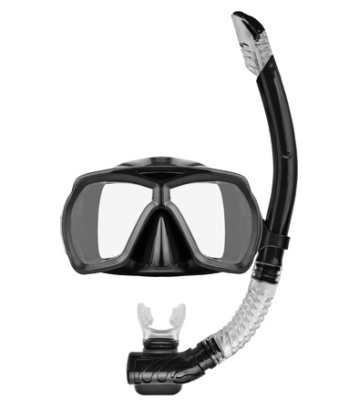 Tube for diving (snorkel) and mask isolated on white background Stock Photo - 9200212