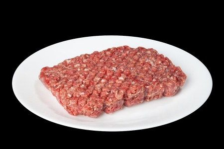 forcemeat: Raw forcemeat on a white plate is isolated on a black background