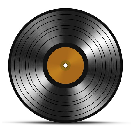 single track: Vintage vinyl record isolated on white background