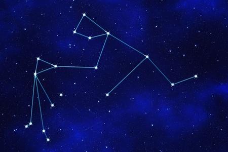 Star-field background of zodiacal symbol