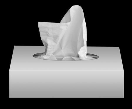 facial tissue: home napkins in box isolated on the black background