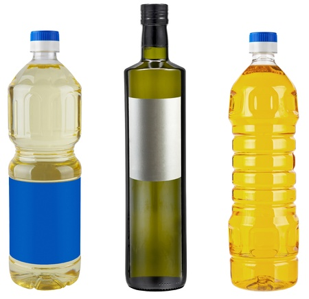 sunflowerseed: Bottle Blank of Pure Olive or Corn or Nut or Sunflower (Vegetable) oil, isolated on white Stock Photo