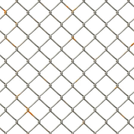 chained link: Chain Fence. Steel grid isolated on white