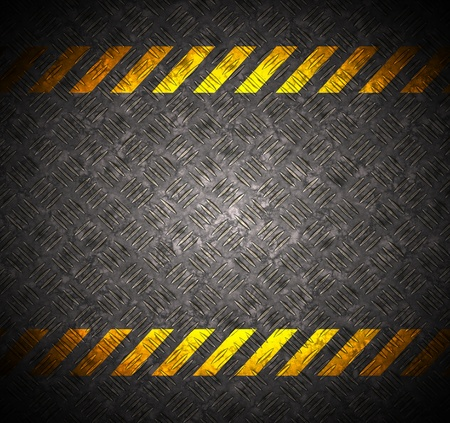 Metal background with caution tape photo