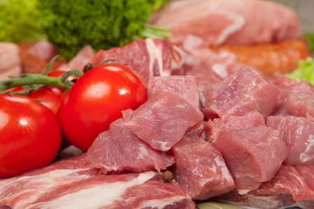 Fresh Raw Meat Background with  Beef Meat, Turkey and ground beef photo