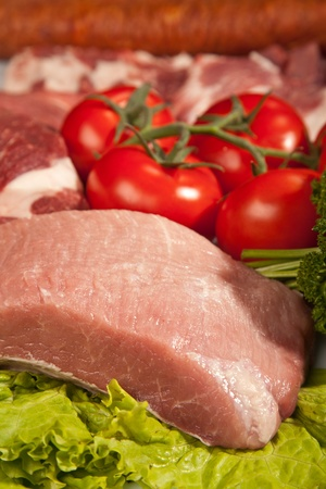 Fresh Raw Meat Background with Pork fillet, Beef Meat, Turkey and ground beef photo