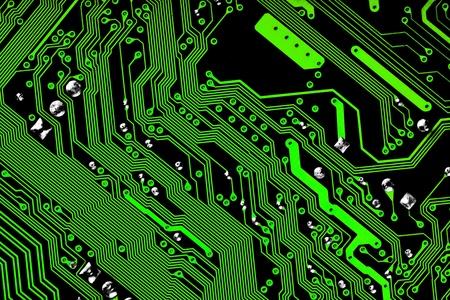 Electronic circuit board - green & black texture Stock Photo