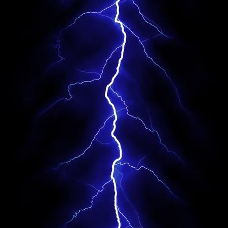 Lightning flash on black background Stock Photo