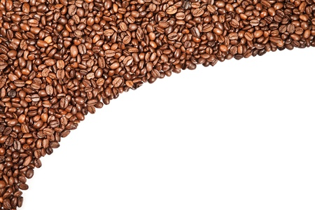 coffe break: aromatic coffee beans on white background Stock Photo