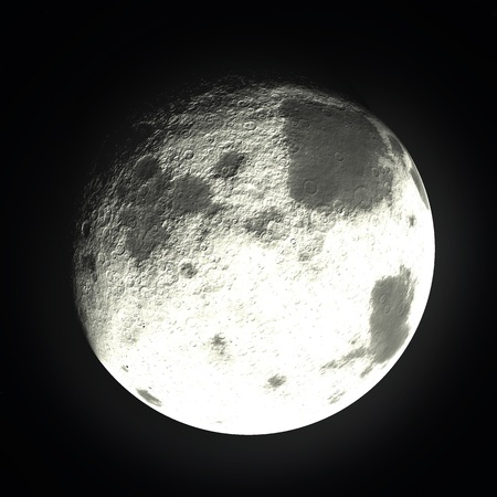 mimas: Bright Moon  Stock Photo