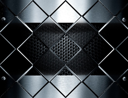 metal template background against glass cubes photo