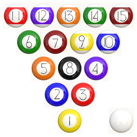 Collection of colorful billiard balls isolated on a white background. photo