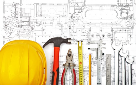contractors: construction drafts and tools background