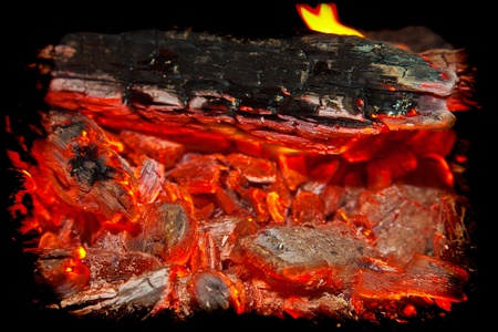 coals: background from a fire, conflagrant firewoods and coals Stock Photo