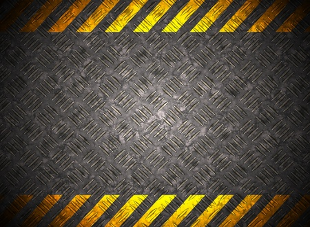 Metal background with caution tape Stock Photo