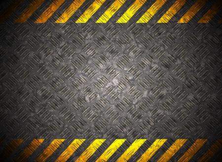 Metall-Hintergrund mit Vorsicht Klebeband