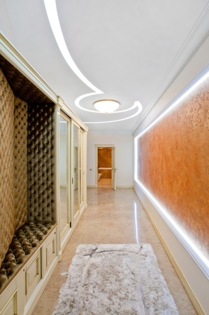 Main corridor or hallway and landing of a large new modern property Stock Photo