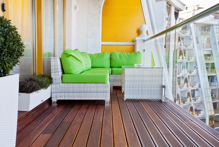 balcony window: Penthouse apartment balcony with wooden decking