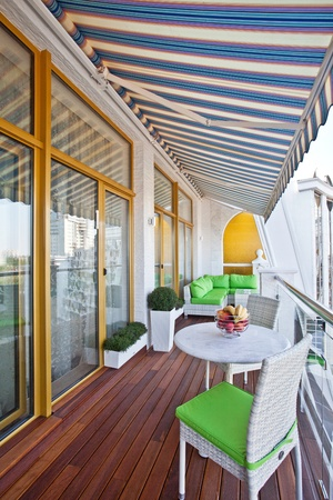 decking: Penthouse apartment balcony with wooden decking