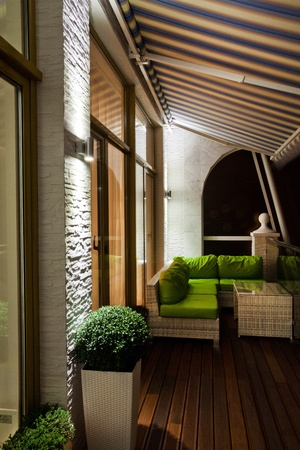 penthouse: Penthouse apartment balcony with wooden decking