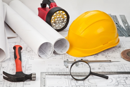 construction drafts and tools background Stock Photo - 11105458