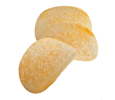 titbits: potato chips isolated on white background