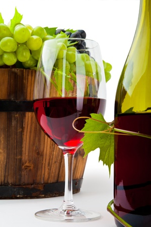 Still life with wine bottles, glasses and grapes Stock Photo - 11105440
