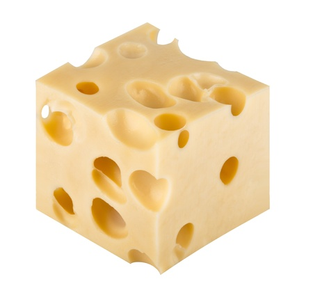chunk: piece of cheese isolated on a white background Stock Photo