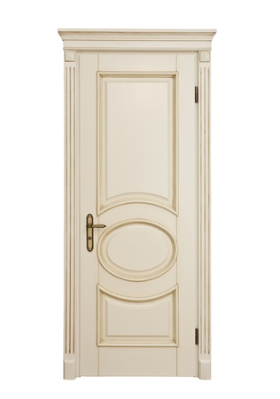 White classic door isolate on white background photo