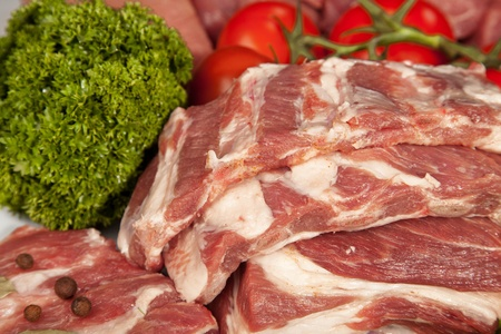 Fresh Raw Meat Background with pork edges; Beef Meat, Turkey and ground beef photo