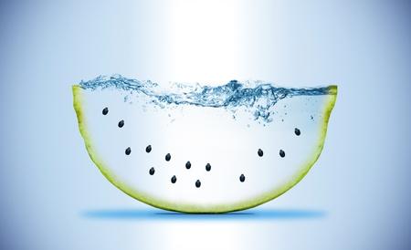 slice of watermelon. Wave. Water splashing  Stock Photo