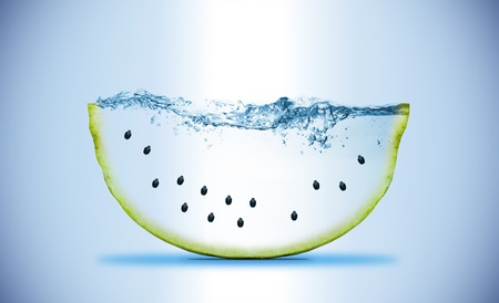 slice of watermelon. Wave. Water splashing  Stock Photo
