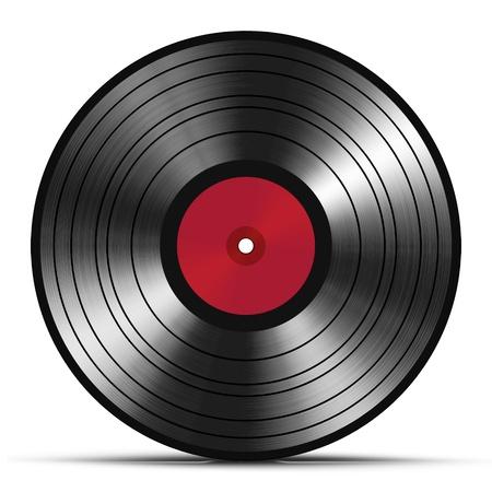 Vintage vinyl record isolated on white background photo