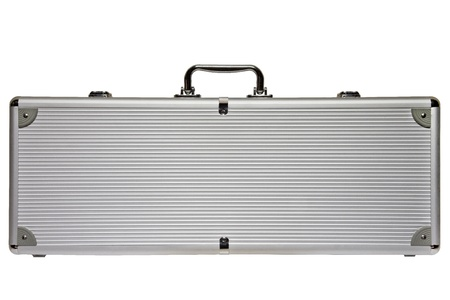 Big Silver metal briefcase isolated against a white background photo