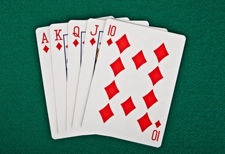 straight flush: A royal straight flush playing cards poker hand Stock Photo