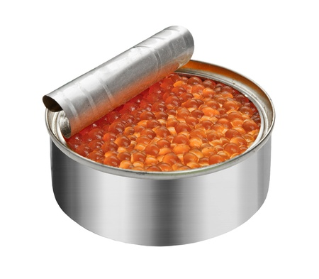 preserve: red caviar in the open metal container isolated on white,