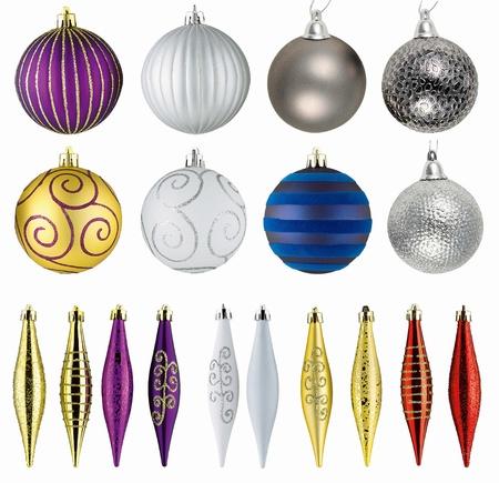 new year eve beads: set of christmas balls isolated on white background